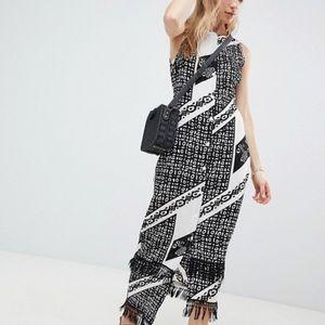 Parisian Printed MIdi Dress with Fringe Detail Hem
